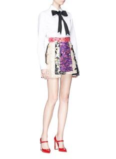 Dolce & Gabbana Mixed jewelled button metallic graphic jacquard panel skirt