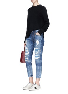 Tortoise 'Savanna' knit patchwork ripped cropped jeans