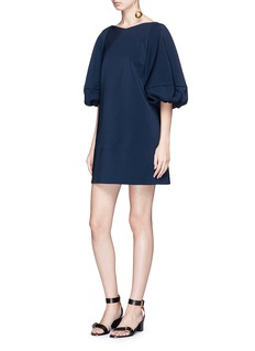 Tibi Balloon sleeve cutout V-back faille dress