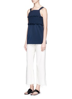 Tibi Smocked bandeau overlay faille top