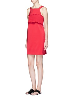 Tibi Smocked bandeau overlay faille dress