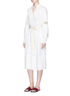 Tibi 'Cora' floral embroidery belted poplin dress