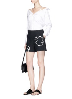 Tibi 'Lore' abstract floral embroidered crepe shorts
