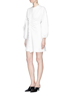 Tibi Ruffle trim buckled back mini jersey dress