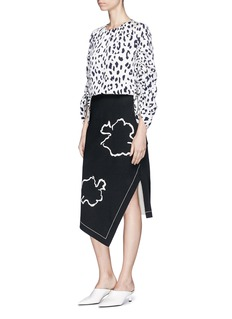 Tibi 'Lore' abstract floral embroidered asymmetric pencil skirt