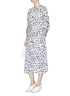 Tibi 'Cheetah' belted ruched sleeve silk charmeuse dress