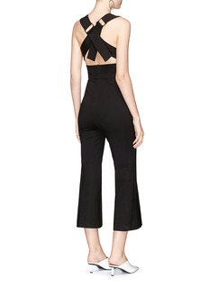Tibi Cropped flared ponte jersey V-neck jumpsuit
