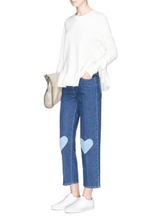 Stella McCartney Heart knee patch cropped jeans