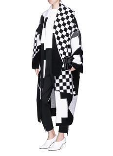 Stella McCartney Checkboard intarsia oversized knit coat