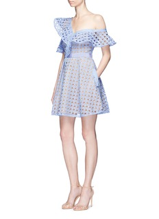 self-portraitGuipure lace frill one-shoulder mini dress