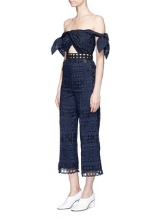 self-portrait Tie detail off-shoulder embroidered jumpsuit