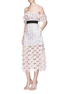 self-portrait3D floral lace off-shoulder midi dress