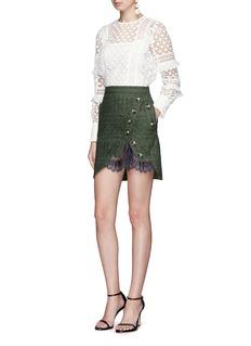 self-portrait Asymmetric button lace underlay broderie anglaise mini skirt