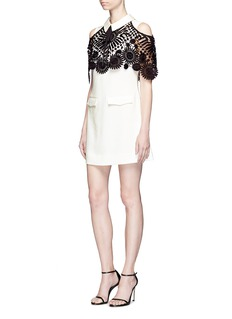 self-portraitMonochrome lace cape cold shoulder crepe mini dress