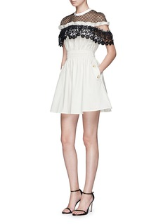 self-portrait 'Hudson' lace yoke poplin mini dress