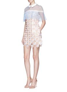 self-portrait3D floral lace cape mini dress