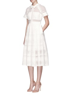 self-portrait Mesh lace broderie anglaise pleated dress