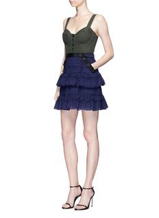 self-portraitCorset tiered mini dress