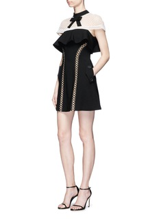 self-portrait Ditsy mesh cape ruffle cady crepe mini dress