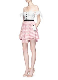 self-portrait Corset off-shoulder guipure lace mini dress
