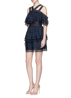 self-portrait Tiered broderie anglaise mini dress