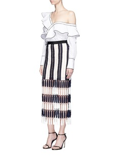 self-portrait Stripe crochet midi skirt