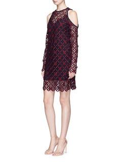 self-portrait Floral grid lace cold shoulder dress