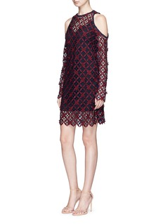 self-portraitFloral grid lace cold shoulder dress
