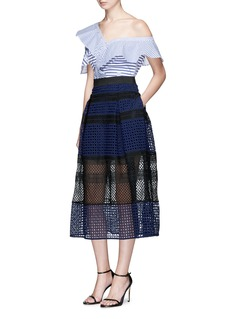 self-portrait Crosshatch pleated mix lace skirt