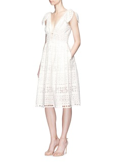 self-portraitTie shoulder embroidered midi dress