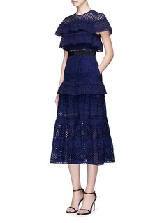 self-portrait Tiered frill broderie anglaise midi dress