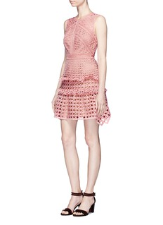 self-portrait Crosshatch frill guipure lace mini dress