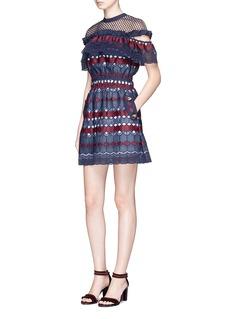self-portrait'Hudson' mesh yoke frill geometric lace mini dress