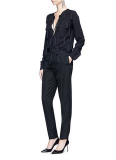 Saint Laurent Cutout sleeve tassel tie keyhole front blouse