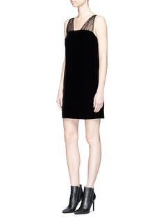 Saint Laurent Heart tulle strap velvet mini tube dress