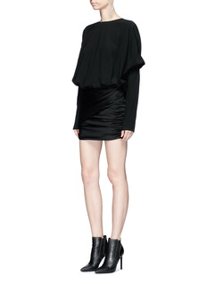 SAINT LAURENT Crepe panel ruched satin mini dress