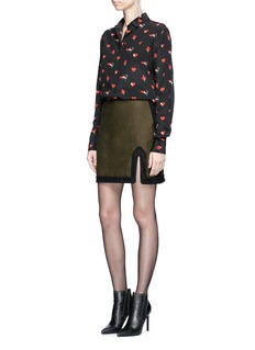 Saint Laurent Split hem cotton twill mini skirt
