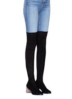 Sophia Webster 'Suranne OTK' crystal heel suede thigh high sock boots