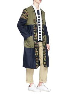 Comme Des Garçons Shirt Colourblock wool melton coat