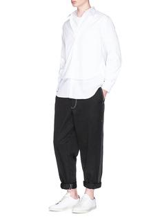 Comme Des Garçons Shirt Contrast stitch twill jogging pants