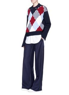 MRZCutout argyle pattern wool-cashmere sweater