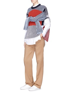 MRZ Convertible sleeve colourblock wool-cashmere sweater