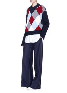 MRZ Contrast stitch virgin wool blend wide leg pants