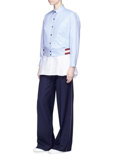 MRZ Rib knit hem cotton twill cropped shirt