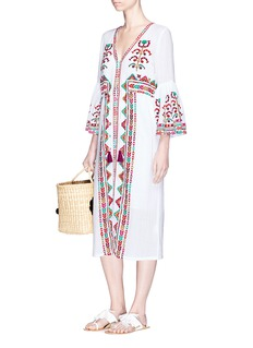 Figue 'Minette' floral and ethnic stripe embroidered dress