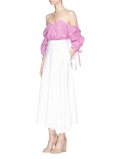 Caroline Constas 'Gabriella' plaid poplin off-shoulder bustier top