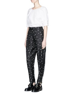3.1 Phillip Lim Glass pearl lace-up cuff cotton poplin top