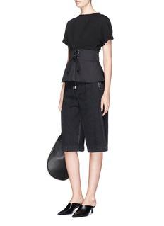3.1 Phillip LimLace-up corset waist denim culottes shorts
