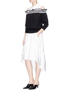 3.1 Phillip Lim Ruffle stripe off-shoulder sweater