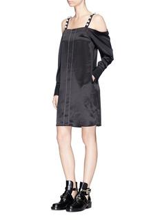 3.1 Phillip Lim Faux pearl strap cold shoulder silk satin dress